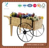 Wooden Flower Display Cart with Steel Wheels