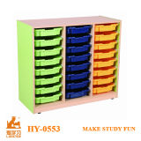 Children Studying Shelves of Kids Furniture with Plastic Storage