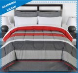 3 Piece Red Gray Stripes Printed Polyester Comforter Bedding