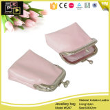 Leather Pink Jewelry Bag with Cute Clip (5267)