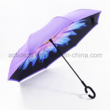 Double Printed Upside Down Reverse Umbrella with C Shape Handle for Promotion