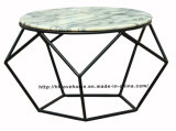 Morden Dining Coffee Metal Wire Marble Top Table