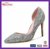 Shiny Silver Glitter Lady Heeled Shoes High End