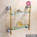High Quality Bathroom Accessories Glass Double Shelf (A-8398)