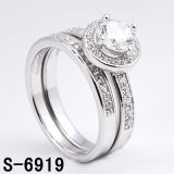Fashion 925 Silver Jewelry Micro Pave CZ Twin Ring (S-6919)
