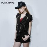 Pk-066 Punk Summer Street Zipper Suit Collar Womens Denim Jumpsuit