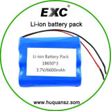 3.7V 6600mAh 18650 Battery Pack, Lithium Ion Battery