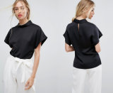 Ladies Round Collar Blouse with Short Sleeve Blouse