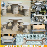 Outdoor Stone Round Table and Benches Garden Decoration