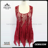Lady′s Sleeveless Handknited Slip Chiffon Dress