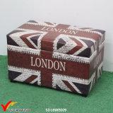 """""""London"""" Vintage Storage Wood Trunk as Seating Stool"""
