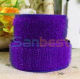 100% Nylon Hook &Loop in Dark Purple Color