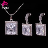 Big Square Stone Design for Women Daily Wear White Gold Jewelry Set