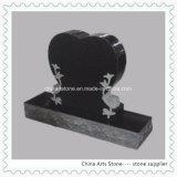 Black Stone Granite Heart Upright Monument
