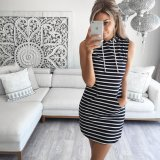 Hot Girl Slim Sleeveless Stripe Hoody Dress
