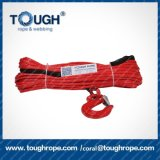6mm*15m Red UHMWPE 1/4inch Synthetic Electric Winch Rope with Stainless Steel Thimble, End Lock with Stick Strap