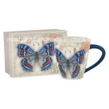 Langs Ceramic Carte Postale Beautiful Butterfly Cafe Mug 18 Oz