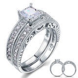 Wihte Zircon Engagement Ring 925 Sterling Silver Jewelry