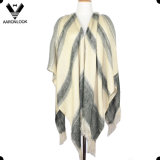 New Fashion High Quality Customized Check Patterns Cape Shawl with Fringes