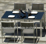 Patio Cozy Dining Table Wit Black Tempered Glass Tabletop