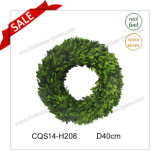 D40cm Natural Leaves Preserved Boxwood Flowers&Wreaths Glass Craft
