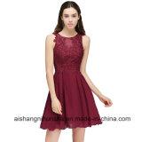 A-Line Burgundy Appliques Homecoming Dresses Sexy Sleeveless Chiffon Prom Dress