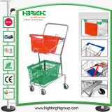 2-Tier Double Basket Shopping Basket Trolley