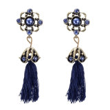 European Fashion Simple and Long Style of Diamond-Encrusted Retro Alloy Earrings