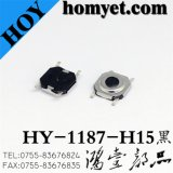 High Quality Tact Switch with 5.2*5.2*1.5mm Black Round Button Four Pin SMD (HY-1187-H15HEI)