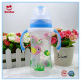 Wide Neck Infant Feeding Bottle with Double Colors Handle