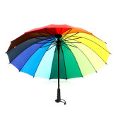 Straight Rainbow Umbrella, Windproof, Waterproof Auto Open Advertising Sun Beach Umbrella