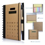 Betterhill Spiral Notebook with Solar Powered Calculator and Sticky Notes - A5
