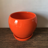 Orange Ball Shape Ceramic Pot