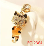 Ec-2364 Rhinestone and Enamel Cat Shape Cellphone Plug