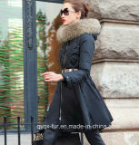 New 2014 Women Winter Down Coat Luxury Fur Collar Female Medium-Long Winter Jacket Down Coat Outerwear