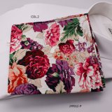 Printed Floral Hany Men′s Pocket Squares with Machine Rolling Edge