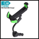 Adjustable Size Car Phone Holder Mount with Two USB Charger