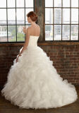 New White/Ivory Organza Long Strapless Wedding Dress (C12029-1)