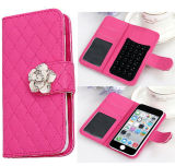 Wallet Card Holder Flip Plaid Universal Phone Case for Samsung S6