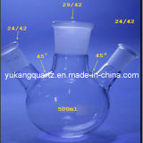 Three Outlets Quartz Glass Flask Round Bottom