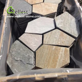 St-014 Yellow Wood Slate Crazy Meshed Paving Stone for Landscape