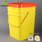 Colored Square 20L Plastic Pail with Lid and Metal Handle