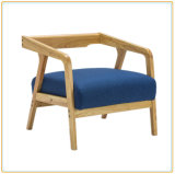 Single Seater Wood Restaurant Sofa Chair with Lake Blue Color