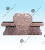 Natural Stone Carved Double Heart Granite/Marble Grave Monument Tombstone