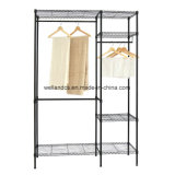 Black Coated Metal Bedroom Wardrobe Rack with Oxford Cloths Fabric Cover