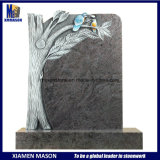 Upright Antique Granite Headstone with Tree and Bird