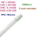 9W/14W/18W/24W 100lm/W PC /Nano LED T8 Light Tube with 3 Year Warranty