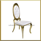Commercial Hotel Modern Gold Stainless Steel Oval Round High Back Stack Dining Event Banquet Wedding Chair for Sale