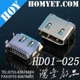 Good Durability RoHS Complian 19pin 90 Degree DIP Type HDMI Connector for PCB