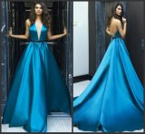 Backless Satin Prom Party Gowns Blue Evening Dresses Z3042